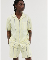 Sweet Sktbs Resort Striped Short Sleeved Shirt In Yellow