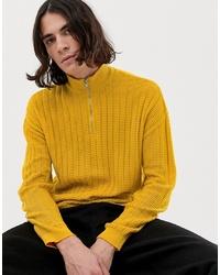 ASOS DESIGN Textured Knit Half Zip Jumper In Yellow